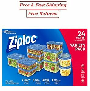 Ziploc Varity Pack 24 Ct food storage Containers for on-the-go snacking BPA Free