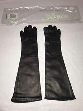 Vintage Lanolav Black Leather Gloves Silk-lined Womens Size 6.5 Formal Euc
