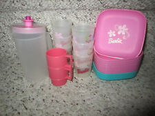 New listing 20pc Tupperware Tupper Toys Barbie Pink Plates Cups Pitcher + Extras