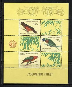 INDONESIA 1980, BIRDS: PARROTS, Scott 1106A,  SOUVENIR SHEET, MNH