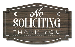 No Soliciting Sign Thank You, Kona/White