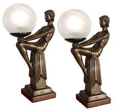 42CM PAIR/ART DECO TABLE LAMPS LADY FIGURINE BRONZE POLYSTONE GLASS SHADES