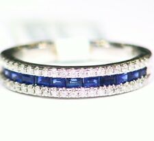 Designer 14K Solid Gold Natural Sapphire Diamond .76CT Engagement Wedding Band