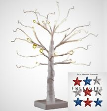 "Lighted White Wire Tree 18"" Tabletop Ornament Holder with Timer + Free Gift"
