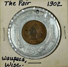1902 Indian Head Cent Encased Good Luck Token Holed The Fair Waupaca, Wi