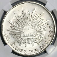 1873-Ho NGC MS 62 Mexico 8 Reales Rare Hermosillo Silver Coin (19010401C)