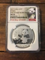 2017 China Silver Panda NGC MS70 Exclusive First 30k Struck Label