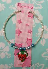 "NIP Lovely Shopkins kids Strawberry kiss Necklace 16"" long stretchable"