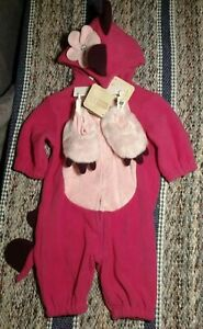 Infant Girls 0-3 Months pink 1-piece hooded monster Costume With Claw Slippers