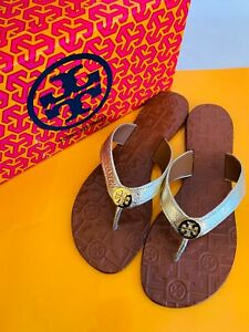 Tory Burch NIB Thora Thong Flat Sandals Spark Gold Leather Gold Logo MANY SIZES