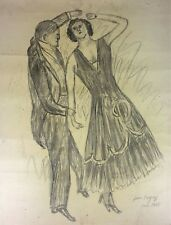 COUPLE DANCING. DRAWING. CHARCOAL ON PAPER. JEAN POUGNY. FRANCE. 1928