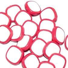Mercerie Lot de 6 boutons carrés plastique rouge vermillon et blanc 16mm button