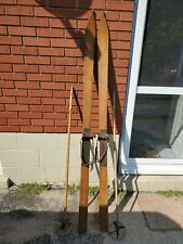 New listing Very Old vintage Downhill Wooden Skis and bamboo poles