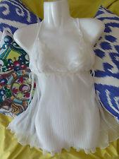 MYLA ivory white SILK bridal babydoll with lace Size L