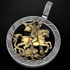 Iconographic St George Pendant In 925 Sterling silver Signet Dragon