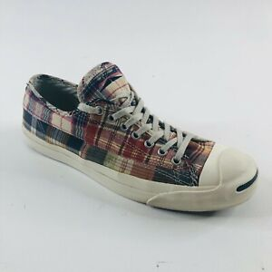 Converse Jack Purcell Madras Plaid Shoes Unisex M 10 W 11.5 Rare Casual Sneakers