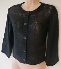 Womens Cardigan Size 6 New Ladies Black loose Knit 3/4 Sleeved shorter length