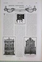 1903 Estampado Artístico Muebles Artículo Armarios Pietra Dura 17th Siglo