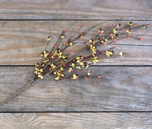 Fall Floral Pick Burnt Orange Bittersweet & Pip Berries Primitive Decor 29 in