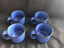 Marlboro Unlimited Speckled Blue Stoneware Coffee Mugs Black Rim Heavy Mint