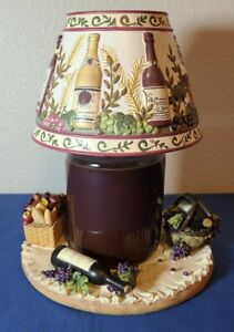 Yankee Candle Wine and Cheese Wine Bottles Large Shade and Large Plate Set