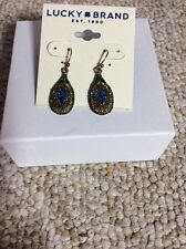 $29 Lucky Brand Pave Crystal Drop Peacock Earrings #542