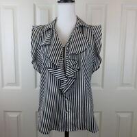 Karl Lagerfeld Paris Ruffled Sleeveless Striped Top Blouse Sz SMALL Black White