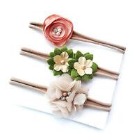3Pcs Baby Girls Infant Toddler Elastic Cute Flower Bow Nylon Headband Hair YI