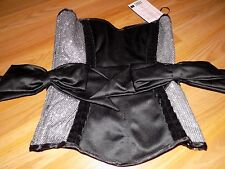 Size SP Small Leg Avenue Vivian Corset Bustier Black Silver Velvet Trim Bow New