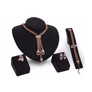 Beautiful Jewellery Set Gold Pendant Earring Necklace Ring Ladies Girls Woman UK