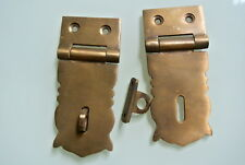 """2 small box catch hasp latch old style solid brass DOOR heavy rectangle 3.1/2"""" B"""