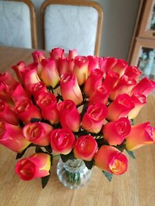 3 DOZEN - YELLOW/RED WOODEN ROSE BUDS 5 X 8 ARTIFICIAL FLOWERS - FREE SHIPPING
