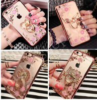 Luxury Bing Diamond Crystal Flowers Ring Stand Case Cover for iPhone XS Max XR 8