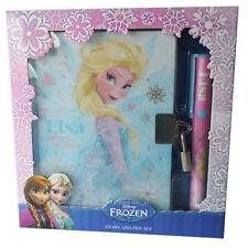 DISNEY Frozen Elsa APERTO GLITTER datata Diario con serratura e Set di penne Nuovo in Scatola
