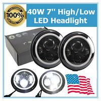 """2X 7"""" 40W LED Headlight High Low Halo Angle Eye Fits Jeep Wrangler JK LJ CJ TJ"""