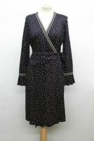 HOBBS Ladies Melanie Navy Blue Multi Leaf Print Flared Cuff Wrap Dress UK12 NEW