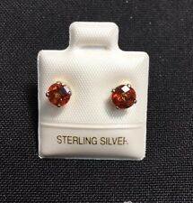 Sterling Silver Pierced Earrings With Beautiful Round Solitaire Orange Gems