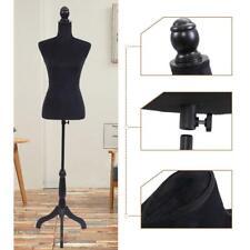 Black Form Female Mannequin Torso Coat Dress Form Display w/ Black Tripod Stand