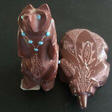 Zuni Fetish Adrian Cachini Bear Honey Badger Carving Native American Pipestone
