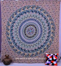 Elephant Mandala Bohemian Grey Bedcover Wall Hanging Decor QUEEN Indian Tapestry