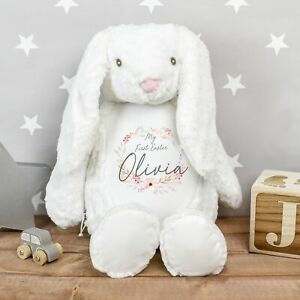 Personalised My First Easter Bunny Teddy White Soft White Rabbit Seasonal
