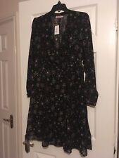 Cath Kidston size 12 black firework tea bnwt star floaty wrap dress RRP £75