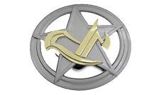 Men Women Silver Metal Belt Buckle Round Shape Texas State Star Round Shape Big