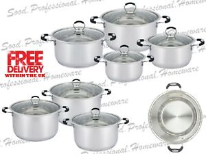Glaxa Stainless Steel Cooking Pot 4Pc/3Pc Casserole Induction Pan Set Cookware