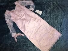 Victorian bride WEDDING dress gown pink costume size 16 sheath w/ long train