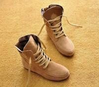 Women's Ankle Boots Nubuck Leather Moccasins Lace-Up High top Shoes US Size 5-9