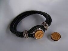 Iowa Hawkeye Snap Bracelet Medium Black Leather Band