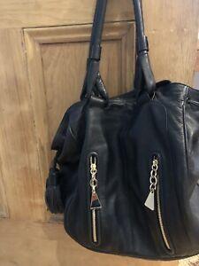 See by Chloe Black Leather Tassel Drawstring Handbag Tote Large Medium Bag