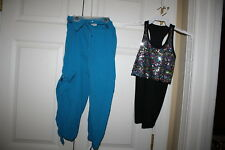 Girl Curtain Call B2250 E713 Hip Hop Black Sequin Top Pants Costume Size CME