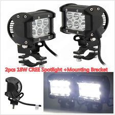 2pcs 18W CREE LED Driving Fog Spot Spotlight W/Mount Bracket For Motorcycle ATV